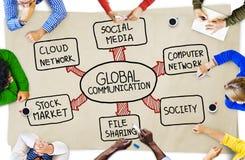Affärsfolk och begrepp för globala kommunikationer Arkivbilder