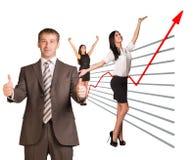 Affärsfolk och grafiskt diagram royaltyfri bild