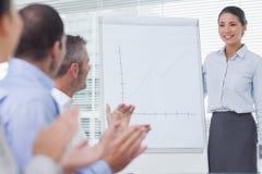 Affärsfolk som applausing deras kollega för hennes presentation arkivfoton