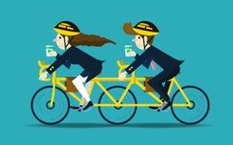 Affärsfolk som cyklar för att arbeta Schacket figurerar bishops royaltyfri illustrationer