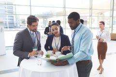 Affärsfolk som diskuterar över dokument på tabellen under ett seminarium arkivbilder