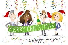 Affärsfolk som firar jul Arkivbild