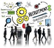 Affärsfolk som går rekryteringkvalifikationbegrepp Arkivfoto