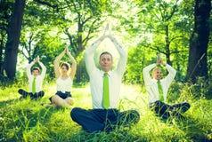 Affärsfolk som gör yoga arkivfoto