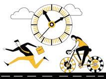 Affärsfolk som kör och cyklar royaltyfri illustrationer