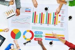 Affärsfolk som möter begrepp för planläggningsanalysstatistik Arkivbild