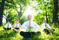Affärsfolk som mediterar i träna Arkivbild