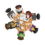 Affärsfolk som sitter på tabellvektorillustration vektor illustrationer
