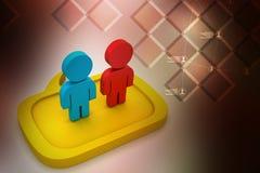 Affärsfolk som står i anförandebubblor Arkivfoto