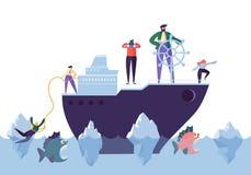 Affärsfolk som svävar på skeppet i det farliga vattnet med hajar Ledarskap service, krischef Character stock illustrationer