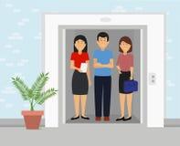 Affärsfolk som tillsammans står den inre kontorsbyggnadhissen stock illustrationer
