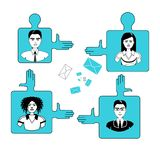 Affärsfolk Team On Puzzle Pieces Cooperation och teamworkbegrepp royaltyfri illustrationer