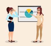 Affärsfolk, utbildning, affärsmöte Flickapresentation till affärskvinnan också vektor för coreldrawillustration Royaltyfri Bild