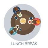Affärsfolket är möta och äta deras lunch royaltyfri illustrationer