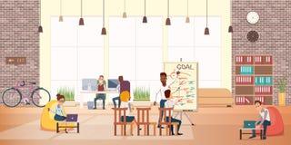 Affärsfolket arbetar vilar i modernt kontorsområde vektor illustrationer