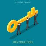 Affärsfolket bär guld- tangent framför den begreppsmässiga bilden för begreppet 3d lösningen stock illustrationer