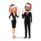 Affärsfolket gratulerar på julferierna vektor illustrationer
