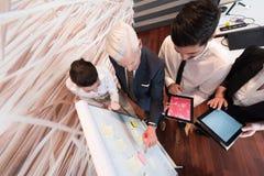 Affärsfolket grupperar idékläckning och taanmärkningar till flipboar Arkivbilder