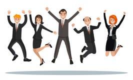 Affärsfolket hoppar som firar segern Arkivbilder