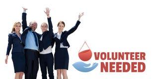 Affärsfolket med volontären behövde text och ett diagram för bloddonation Royaltyfria Foton