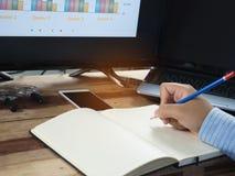 Affärsfolket planerar deras marknadsföring Arkivfoto