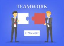 Affärsfolket rymmer pusselstycket Teamwork och partnerskap stock illustrationer