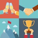 Affärsframgång, ledarskap och seger royaltyfri illustrationer