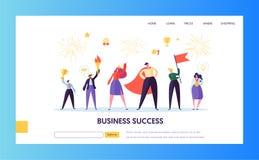 Affärsframgång, mall för ledarskaplandningsida vektor illustrationer