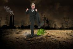 Affärsgirighet, vinst, global uppvärmning, förorening Royaltyfri Foto