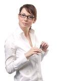 affärsglasögonkvinna royaltyfria foton