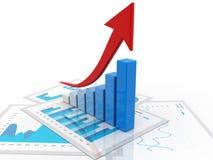 affärsgraf för tolkning 3d och dokument, begrepp för aktiemarknadframgång stock illustrationer