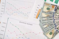 Affärsgraf med oss dollar Arkivbilder