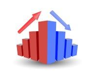 Affärsgraf med tillväxt, upp pil, ner pil stock illustrationer