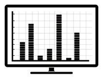 Affärsgraf på en datorskärm Stock Illustrationer