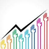 Affärsgraf som göras av färgrika handsymboler Arkivfoton