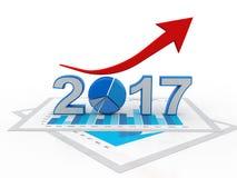 Affärsgrafen med den övre pilen och symbolet 2017, föreställer tillväxt i det nya året 2017, den tredimensionella tolkningen, ill Arkivfoto