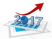 Affärsgrafen med den övre pilen och symbolet 2017, föreställer tillväxt i det nya året 2017, den tredimensionella tolkningen, ill royaltyfri illustrationer