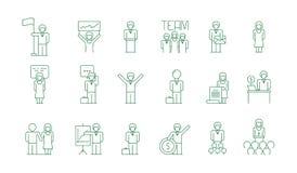 Affärsgruppsymbol Freelancer för möte för lag för folk för kontorsarbete som umgås tunna symboler för kollegakommunikationsvektor vektor illustrationer