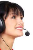 affärshörlurar med mikrofonkvinna Fotografering för Bildbyråer