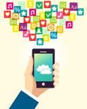 Affärshand genom att använda smartphonen Arkivbild