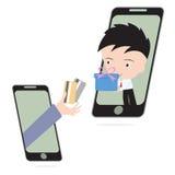 Affärshanden, ger kreditkort- och affärsmanleveransgåvan eller gods via det mobila systemet, e-komrets som shoppar online-begrepp Arkivfoton