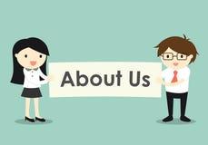 Affärsidé-, affärskvinna och hållande ` för affärsman om oss `-baner royaltyfri illustrationer