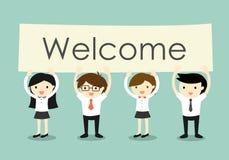 Affärsidé, affärsman och affärskvinnor som rymmer 'den välkomna' skylten med grön bakgrund Arkivbild