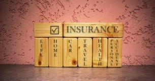 Affärsidé av försäkring på träkvarter royaltyfri foto