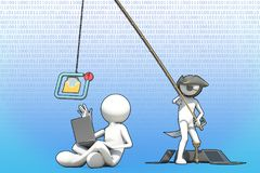 Affärsidé av internetsvindeln med phishing Fotografering för Bildbyråer