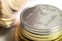 Affärsidé av rikt, rikedom, vinst och finans Närbild för ryska rubel för bakgrund mycket pengar royaltyfri bild