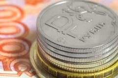 Affärsidé av rikt, rikedom, vinst och finans Närbild för ryska rubel för bakgrund mycket pengar royaltyfri foto