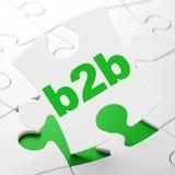 Affärsidé: B2b på pusselbakgrund Royaltyfria Bilder