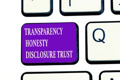 Affärsidé för förtroende för avslöjande för ärlighet för stordia för ordhandstiltext för företags Will för politisk dagordning royaltyfri bild