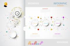 Affärsidé för Infographics mallteknologi med 3 alternativ Royaltyfri Fotografi